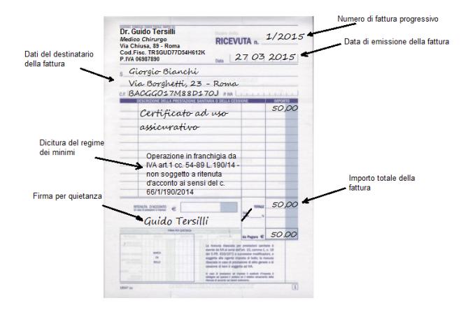 Fattura certificato ad uso assicurativo con regime dei minimi